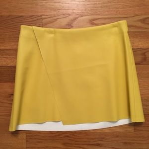 Zara yellow vegan leather skirt